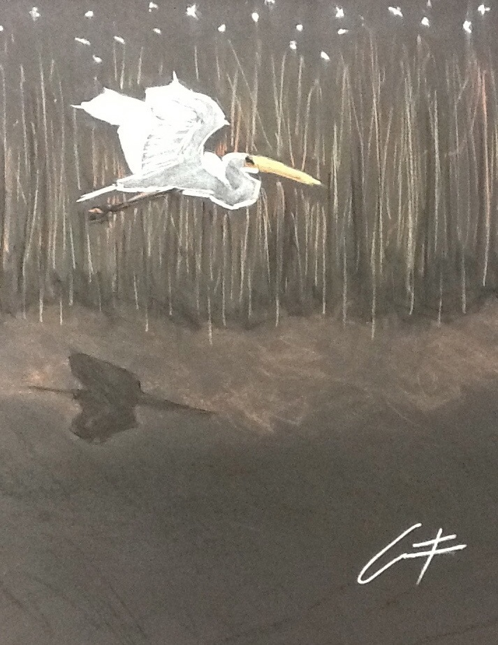 Ibis over the Marsh pastel painting