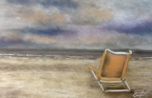 Forgotten Chair, pastel painting.