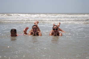 My sister Marcia, niece Mika and I on Fripp Island, SC.