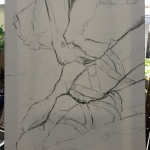 Day 1: Sketch subject onto canvas with charcoal. Erase grid guidelines.